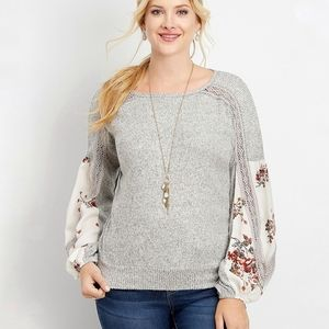 Maurices Knit Floral Bishop Sleeve Sweater Blouse